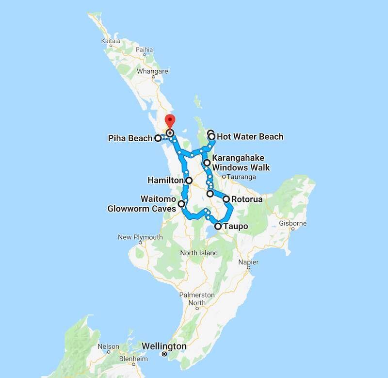 Neuseeland Nordinsel Karte.Neuseeland Nordinsel Eine Woche Roadtrip Digitale Nomadin